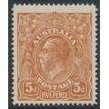 AUSTRALIA - 1915 5d chestnut KGV Head, single watermark, SLP, 'spot between ST', MH – ACSC # 122A