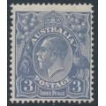 AUSTRALIA - 1928 3d dull blue KGV Head, die Ia, type A, SM watermark, perf. 13½:12½, MH – ACSC # 107A