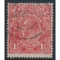 AUSTRALIA - 1926 1½d red KGV Head, SM watermark, p.14¼:14, translucent paper, used – ACSC # 91Baa