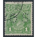 AUSTRALIA - 1926 1d green KGV, die II, SM watermark, p.13½:12½, perf. OS, used – ACSC # 81B(1)ib