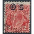 AUSTRALIA - 1932 2d red KGV Head, SM watermark, o/p OS, misplaced overprint, used – ACSC # 102A(OS)
