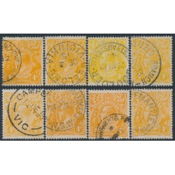 AUSTRALIA - 1915 4d orange KGV Heads shade set, used – ACSC # 110A-110I