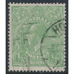AUSTRALIA - 1918 ½d bluish green KGV Head, LM watermark, 'thin ½ at right', used – ACSC # 65A(5)e