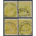 AUSTRALIA - 1924 4d olive KGV Heads, single watermark shade set, used – ACSC # 114A-114D