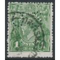 AUSTRALIA - 1924 1d deep green KGV Head, 'dry ink' + 'thin ONE PENNY', used – ACSC # 77D(4)l+ba+c