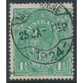 AUSTRALIA - 1923 1½d blue-green KGV Head, very coarse mesh paper, used – ACSC # 88Ca