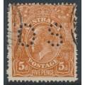 AUSTRALIA - 1920 5d bright chestnut KGV, single watermark, SLP, rough paper, p.OS, used – ACSC # 124