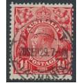 AUSTRALIA - 1927 1½d red KGV Head, SM wmk, p.13½:12½, 'dry ink', used – ACSC # 92Hcf