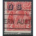 AUSTRALIA - 1932 2d red KGV, SM wmk, o/p OS, misplaced perfs. & overprint, used – ACSC # 102A(OS)