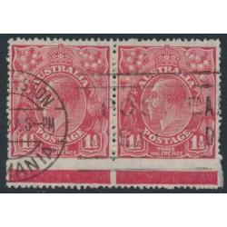 AUSTRALIA - 1926 1½d red KGV Head, SM watermark, perf. 14¼:14, extreme skipped perfs, used – ACSC # 91