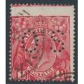 AUSTRALIA - 1924 1½d red KGV Head, single watermark, perf. OS, misplaced perfs, used – ACSC # 89DBa