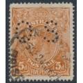 AUSTRALIA - 1920 5d pale bright chestnut KGV, single watermark, SLP, rough paper, p.OS, used – ACSC # 124