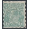 AUSTRALIA - 1920 1/4 greenish blue KGV Head, single watermark, MH – ACSC # 128B