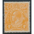 AUSTRALIA - 1920 4d orange KGV Head, inverted watermark, MH – ACSC # 110Ha