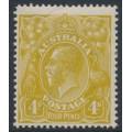 AUSTRALIA - 1924 4d olive-yellow KGV, single watermark, 'damaged frame', MH – ACSC # 114C