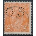 AUSTRALIA - 1920 2d orange KGV Head, inverted single watermark, perf. OS, used – ACSC # 95Eba + a