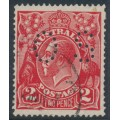 AUSTRALIA - 1922 2d red KGV Head, inverted single watermark, perf. OS, used – ACSC # 95Cb + a