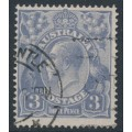 AUSTRALIA - 1924 3d violet-blue KGV, single watermark, 'dry ink', used – ACSC # 104Ac