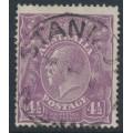AUSTRALIA - 1924 4½d violet KGV, single watermark, coarse paper + 'shaved corner', used – ACSC # 118Ao