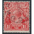 AUSTRALIA - 1927 1½d red KGV, inverted SM watermark, p.13½:12½, 'dry ink', used – ACSC # 92Hcf + a