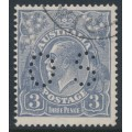AUSTRALIA - 1926 3d dull blue KGV, inverted SM watermark, p.14¼:14, perf. OS, used – ACSC # 106Caa