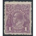 AUSTRALIA - 1922 1d violet KGV, single watermark, coarse mesh + 'dry ink', MNH – ACSC # 76Aaa + c