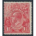AUSTRALIA - 1924 1½d red KGV, single watermark, 'partial unsurfaced paper', MH – ACSC # 89Aad