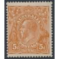 AUSTRALIA - 1917 5d chestnut KGV Head, comb perf., single watermark, MH – ACSC # 123A