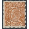 AUSTRALIA - 1915 5d chestnut KGV, single watermark, SLP, 'shaved SW corner', MH – ACSC # 122A