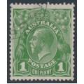 AUSTRALIA - 1926 1d green KGV, die II, SM watermark, p.13½:12½, CTO – ACSC # 81B(1)i+a