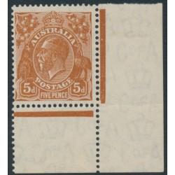 AUSTRALIA - 1932 5d brown KGV, CofA watermark, 'frame missing behind 'Roo [state II]', MNH – ACSC # 127C(3)ra