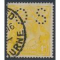 AUSTRALIA - 1916 4d lemon-yellow KGV Head, perf. OS, used – ACSC # 110Cb