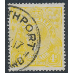 AUSTRALIA - 1916 4d lime-yellow KGV Head, single watermark, used – ACSC # 110D