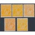 AUSTRALIA - 1915 4d orange KGV Heads, single watermark shade set, MH – ACSC # 110A+B+F+H+I
