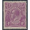 AUSTRALIA - 1921 4d dull violet KGV Head, single watermark, MNH – ACSC # 111A