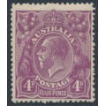 AUSTRALIA - 1921 4d dull violet KGV Head, single watermark, MH – ACSC # 111A