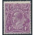 AUSTRALIA - 1921 4d violet KGV Head, single watermark, MH – ACSC # 111A