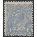 AUSTRALIA - 1922 4d ultramarine KGV Head, single watermark, MH – ACSC # 112A