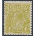 AUSTRALIA - 1924 4d greenish olive KGV Head, single watermark, MH – ACSC # 114B