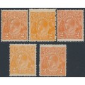 AUSTRALIA - 1920 2d orange KGV Heads, single watermark shade set, MH – ACSC # 95A+B+E+F+G