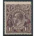 AUSTRALIA - 1918 1½d black-brown KGV Head, inverted single watermark, MH – ACSC # 83Aa