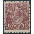 AUSTRALIA - 1919 1½d red -brown KGV Head, inverted single watermark, MH – ACSC # 85Aa