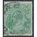 AUSTRALIA - 1923 1½d blue-green KGV Head, single watermark, 'dry ink', used – ACSC # 88Cca