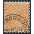 AUSTRALIA - 1920 2d yellow-orange KGV Head, 'cracked electro', used – ACSC # 95B(U)m