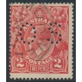 AUSTRALIA - 1922 2d scarlet KGV Head, inverted single watermark, perf. OS, used – ACSC # 95Ab + a