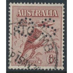 AUSTRALIA - 1933 6d brown Kookaburra, perforated OS, used – SG # 146