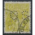 AUSTRALIA - 1933 4d olive KGV, SM watermark, perf. OS (S = 12 holes), used – ACSC # 116Bba