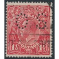 AUSTRALIA - 1924 1½d red KGV Head, single wmk, perf. OS, variety 'retouched upper frame' – ACSC # 89A(13)k