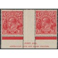 AUSTRALIA - 1927 1½d golden-scarlet KGV Head, SM watermark, p.13½:12½, Ash imprint pair, MH – ACSC # 92H(4)zd