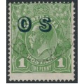 AUSTRALIA - 1932 1d green KGV Head, o/p OS, CofA watermark inverted, used – ACSC # 82B(OS)a